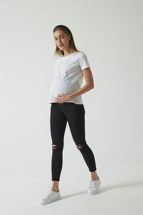 CROSS JEANS Siyah Beli Lastikli Skinny Fit Dizi Yıpratmalı Jean Hamile Pantolonu (İleri Dönem) C 4668-005 0