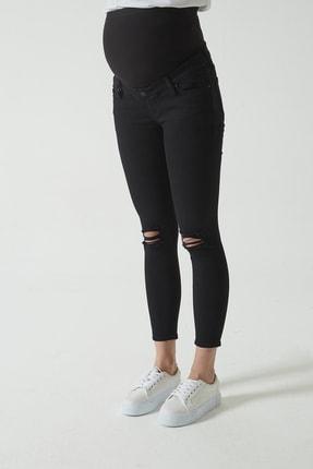 CROSS JEANS Siyah Beli Lastikli Skinny Fit Dizi Yıpratmalı Jean Hamile Pantolonu (İleri Dönem) C 4668-005 1