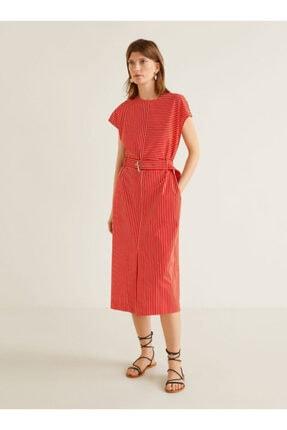 Picture of Kadın Çizgili Gömlek Elbise Kırmızı