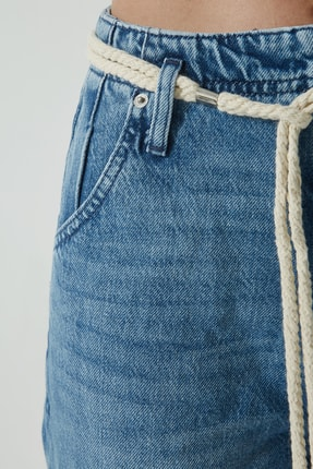 CROSS JEANS Bailey Orta Mavi Yüksek Bel Cropped Geniş Paça Jean Pantolon C 4670-005 4
