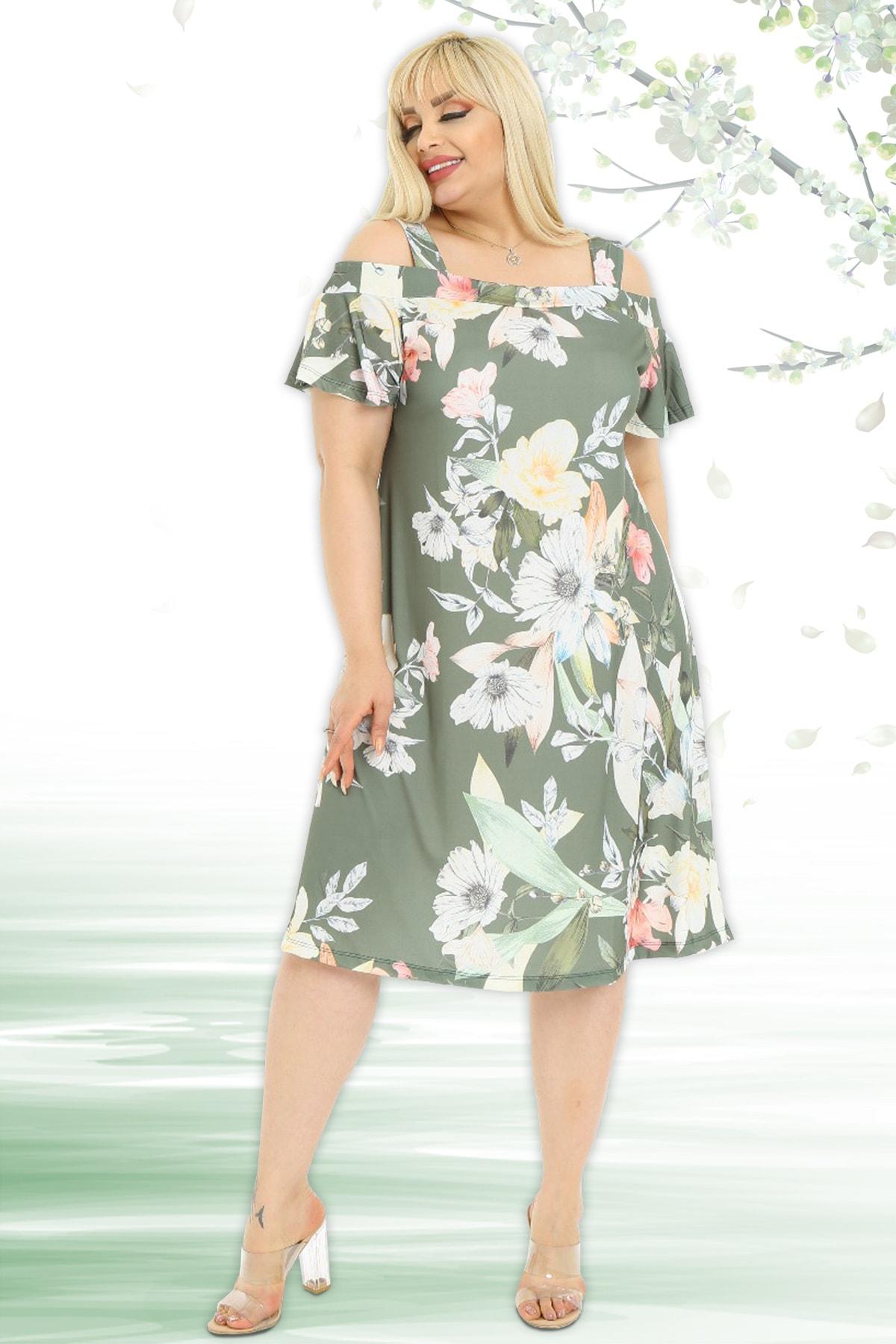 Kadın Yaprak Ve Çiçek Desenli Askılı Sandy Elbise
