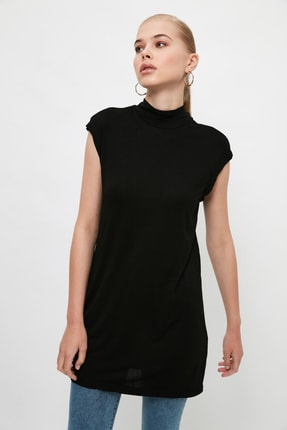 Trendyol Modest Siyah Dik Yaka İçlik Viskon İnce Tunik TCTSS21TN0249 0