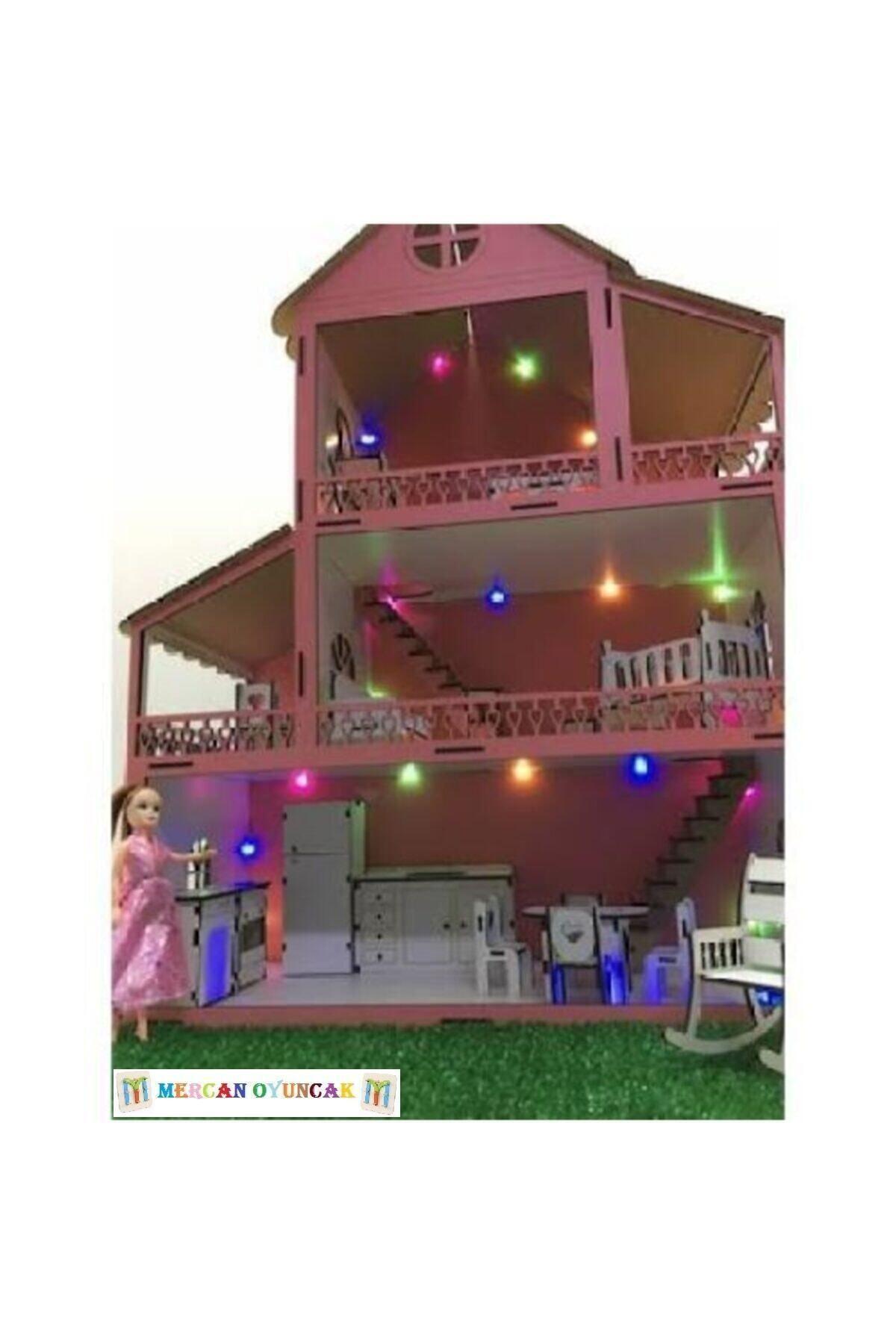 Işıklı Ve Bahçeli Ahşap Barbie Bebek Oyun Evi