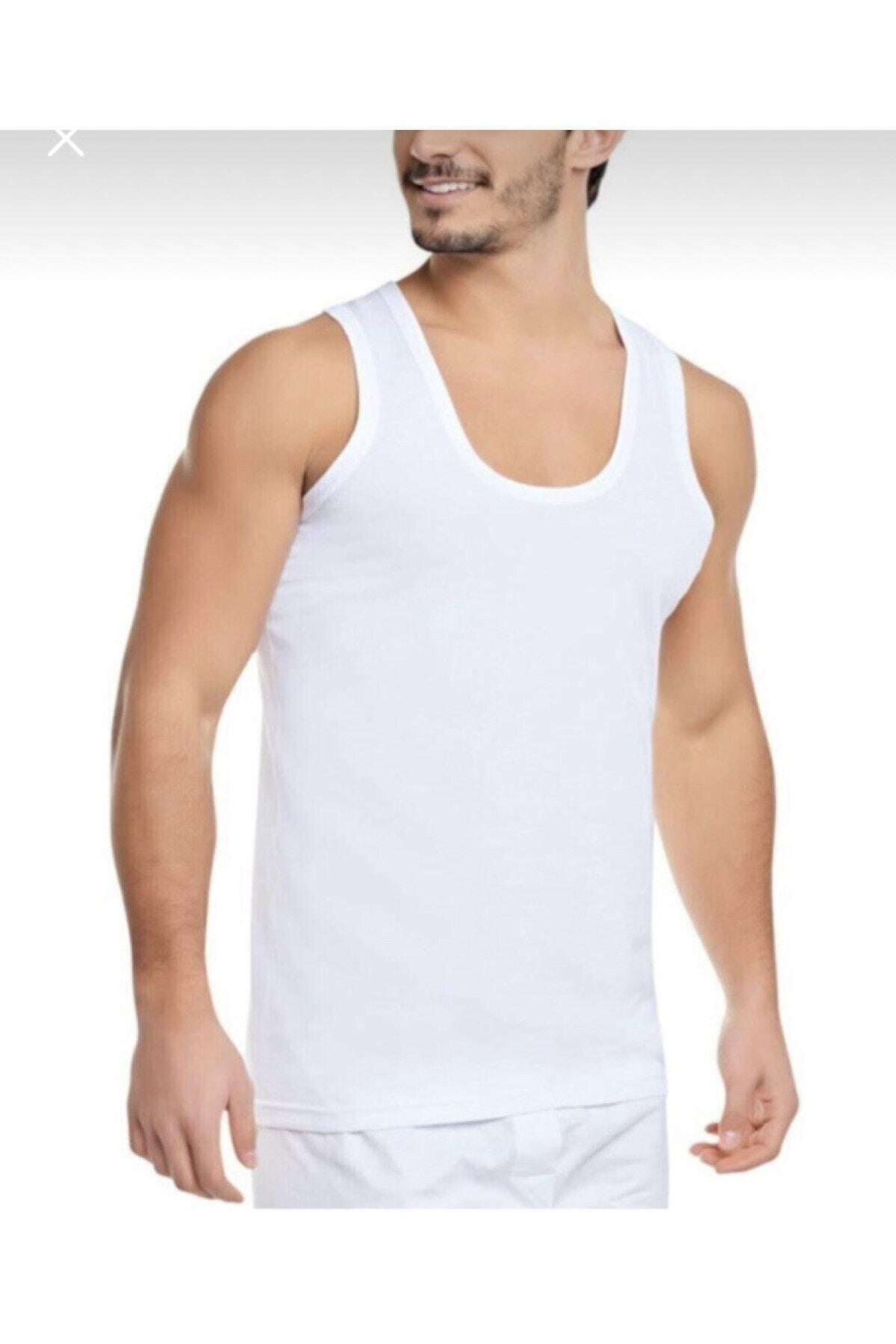 Erkek Beyaz Penye Atlet 0101