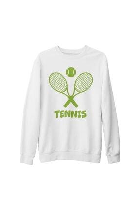 Lord T-Shirt Unisex Beyaz Tenis Baskılı Kalın Sweatshirt 0