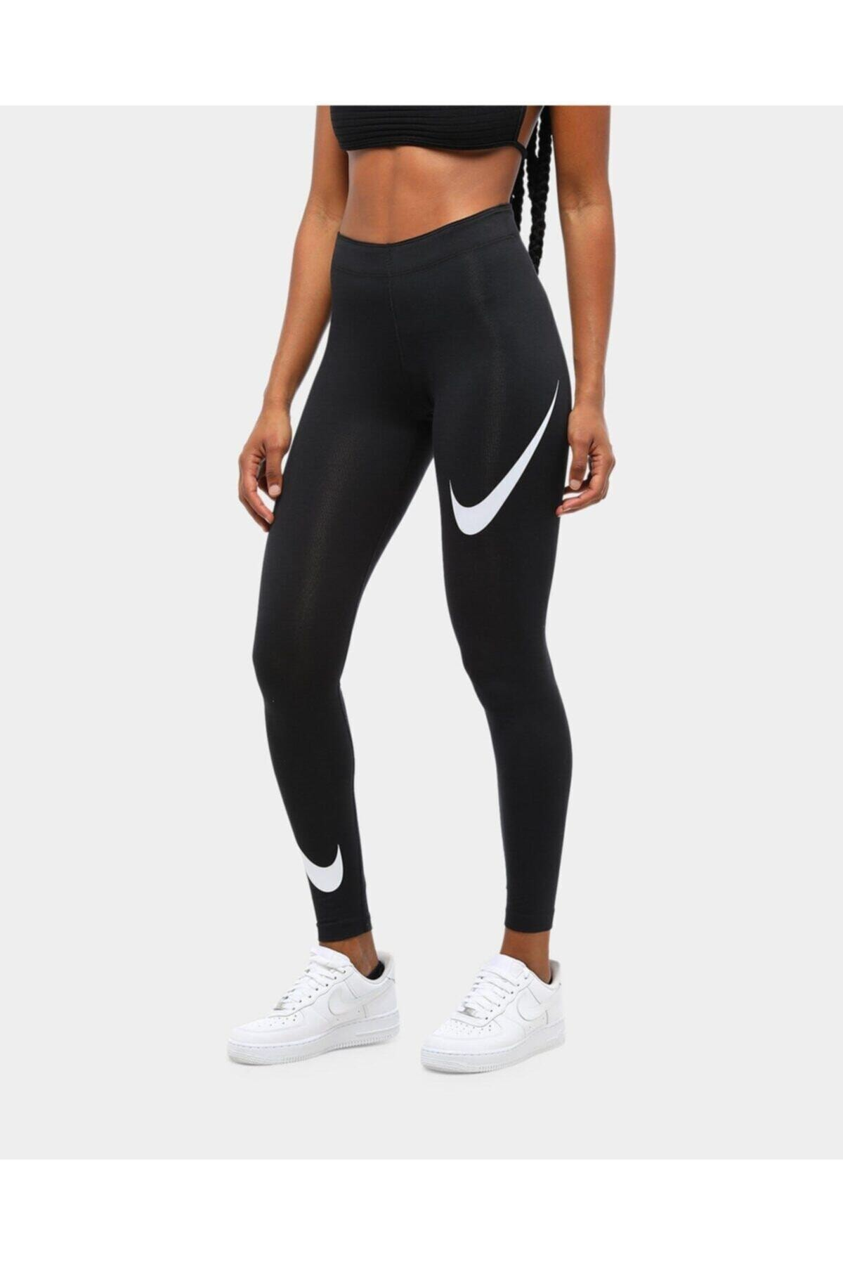 Siyah Kadın Spor Tayt - Kadın Sportswear Leg-a-see Swoosh Tayt - Db3896-010