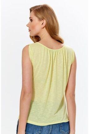 İkiler Kadın Açık Fıstık Yeşil Yakası Büzgülü Flam Bluz 018-1616 4