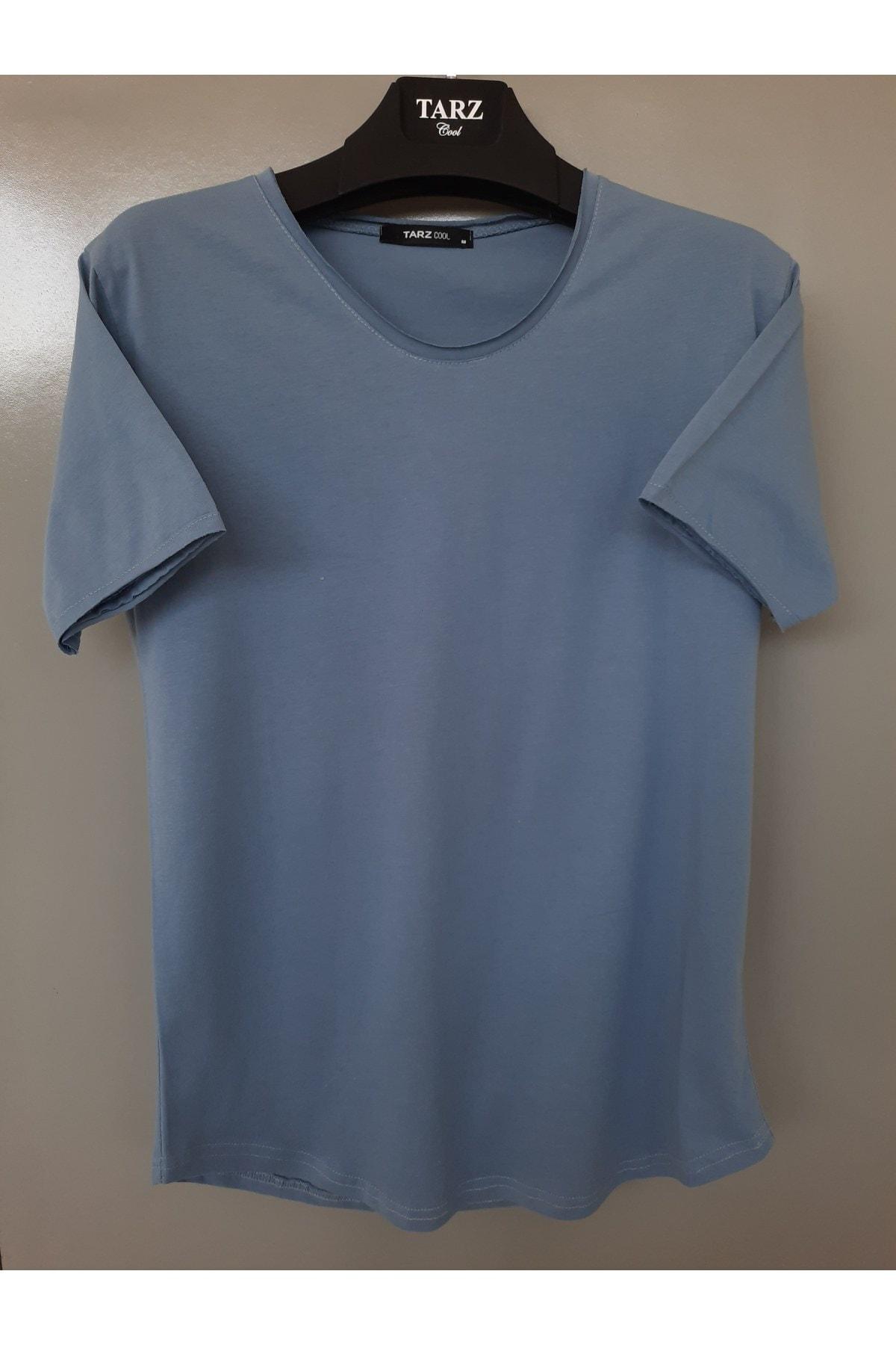 Erkek Çelik Mavisi Pembe Pis Yaka Salaş T-shirt