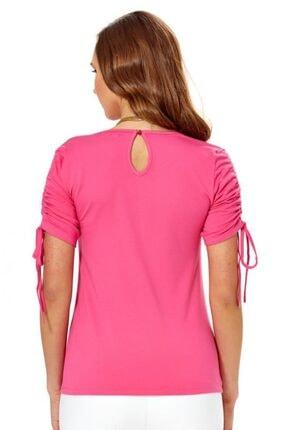 İkiler Kadın Açık Fuşya Kolu Bağcıklı Bluz 018-1009 4