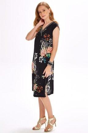 İkiler Yakası Simli Bantlı Eteği Volanlı Desenli Elbise 020-4029 3