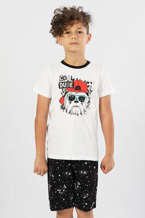 تصویر از Erkek Çocuk Kısa Kol Beyaz Bermuda