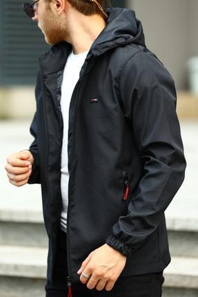 River Club Erkek Siyah İçi Astarlı Suya Dayanıklı Kapüşonlu Cepli Yağmurluk - Rüzgarlık Ceket 1