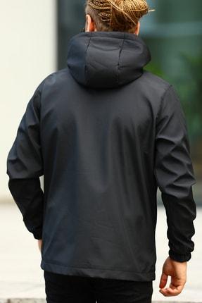 River Club Erkek Siyah İçi Astarlı Suya Dayanıklı Kapüşonlu Cepli Yağmurluk - Rüzgarlık Ceket 2