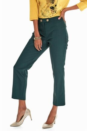İkiler Kadın Yeşil Beli Çift Düğmeli Relax Fit Pantolon 190-3515 0