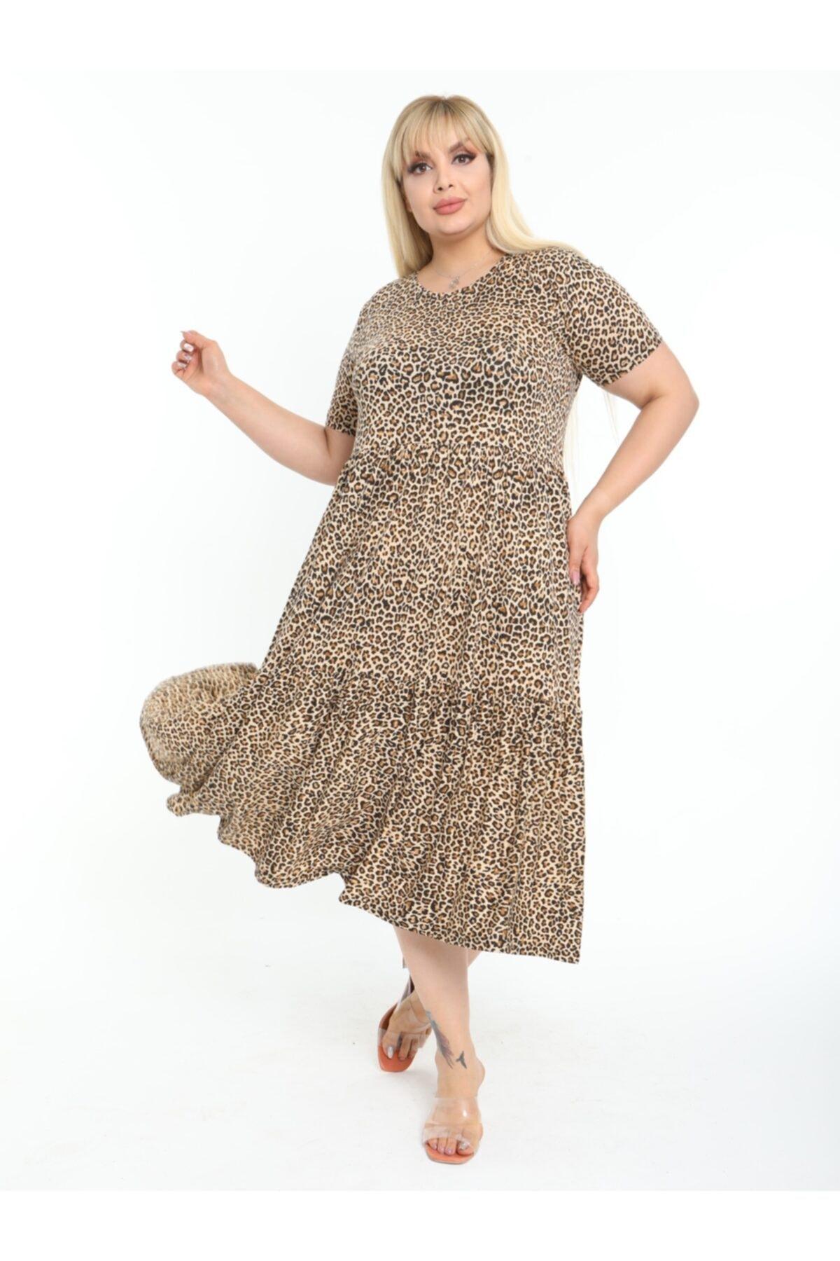 Kadın Kahverengi Büyük Beden Leopar Desen Büzgülü 3 Katlı Lı Viskon Elbise