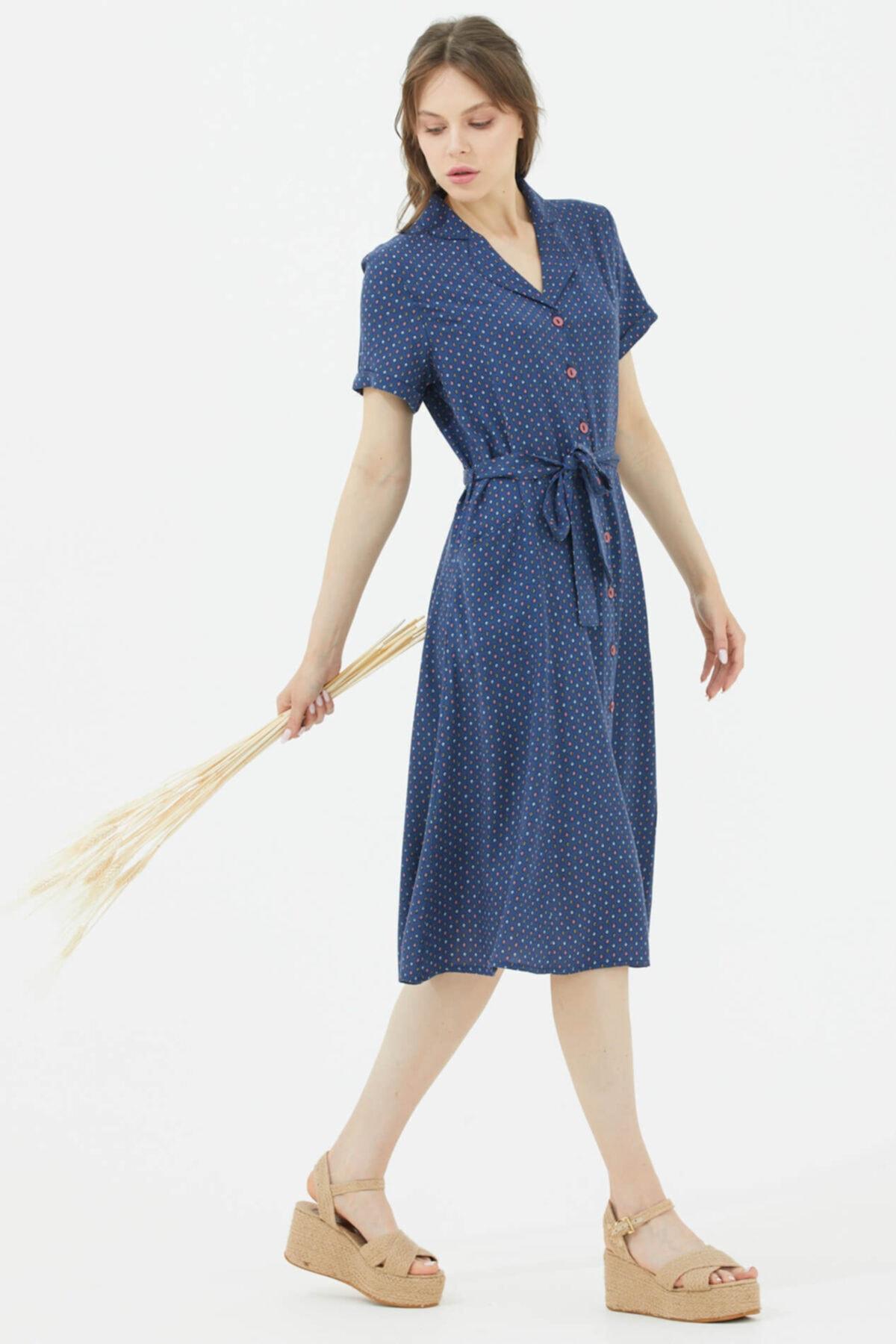 Gömlek Yaka Önden Düğmeli Elbise - Lacivert