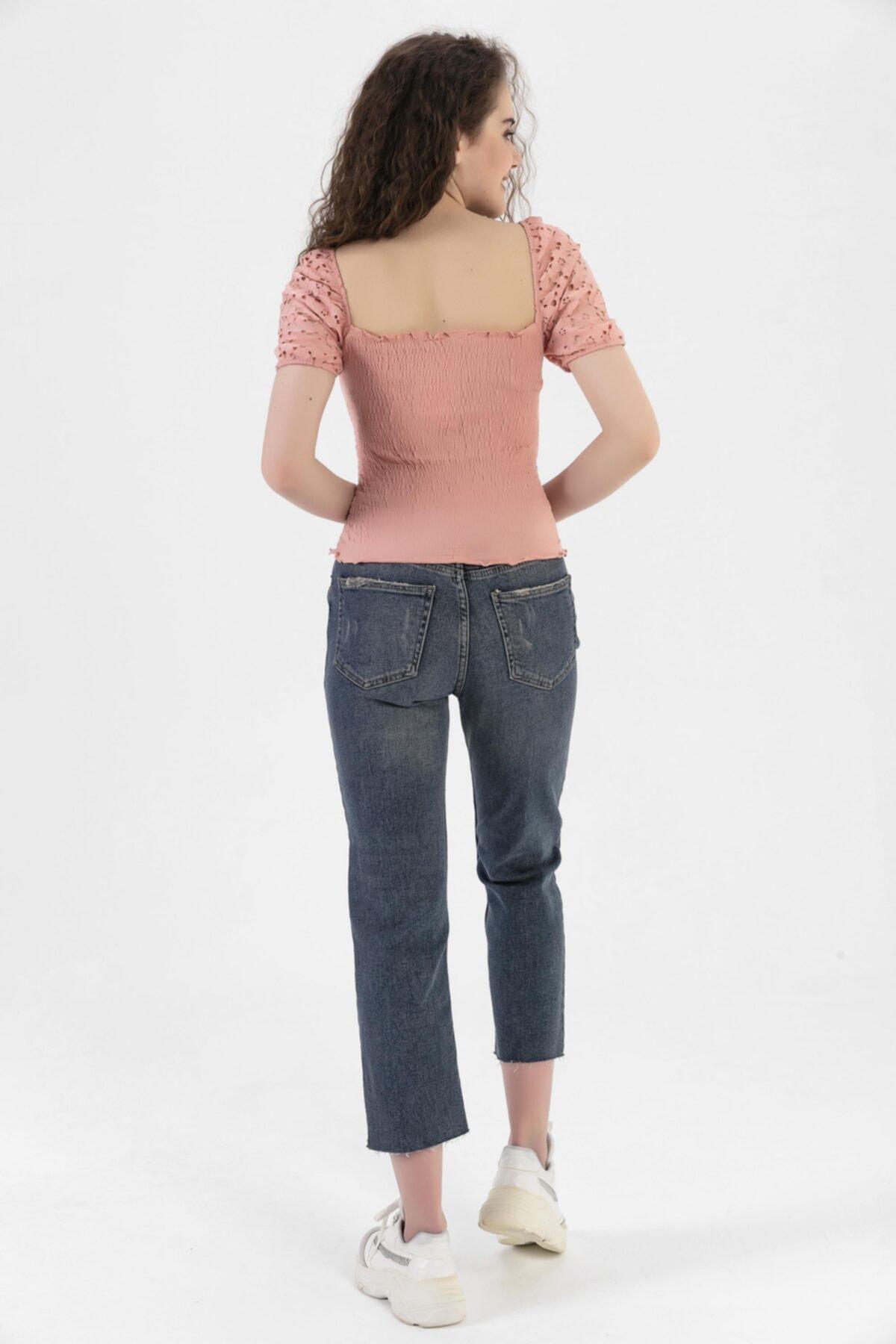 HerTon Pat Düğmeli Paça Detaylı High Waist Cropped Kot Pantolon 117-0077