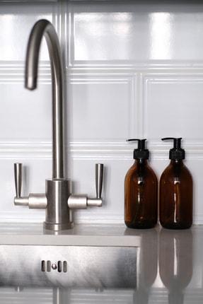 TriChi Design 300ml Kahverengi Amber Cam Şişe Sıvı Sabunluk 1