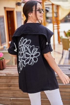 armonika Kadın Siyah Sirti Çiçek Baskili Mevsimlik Ceket ARM-20K024030 2