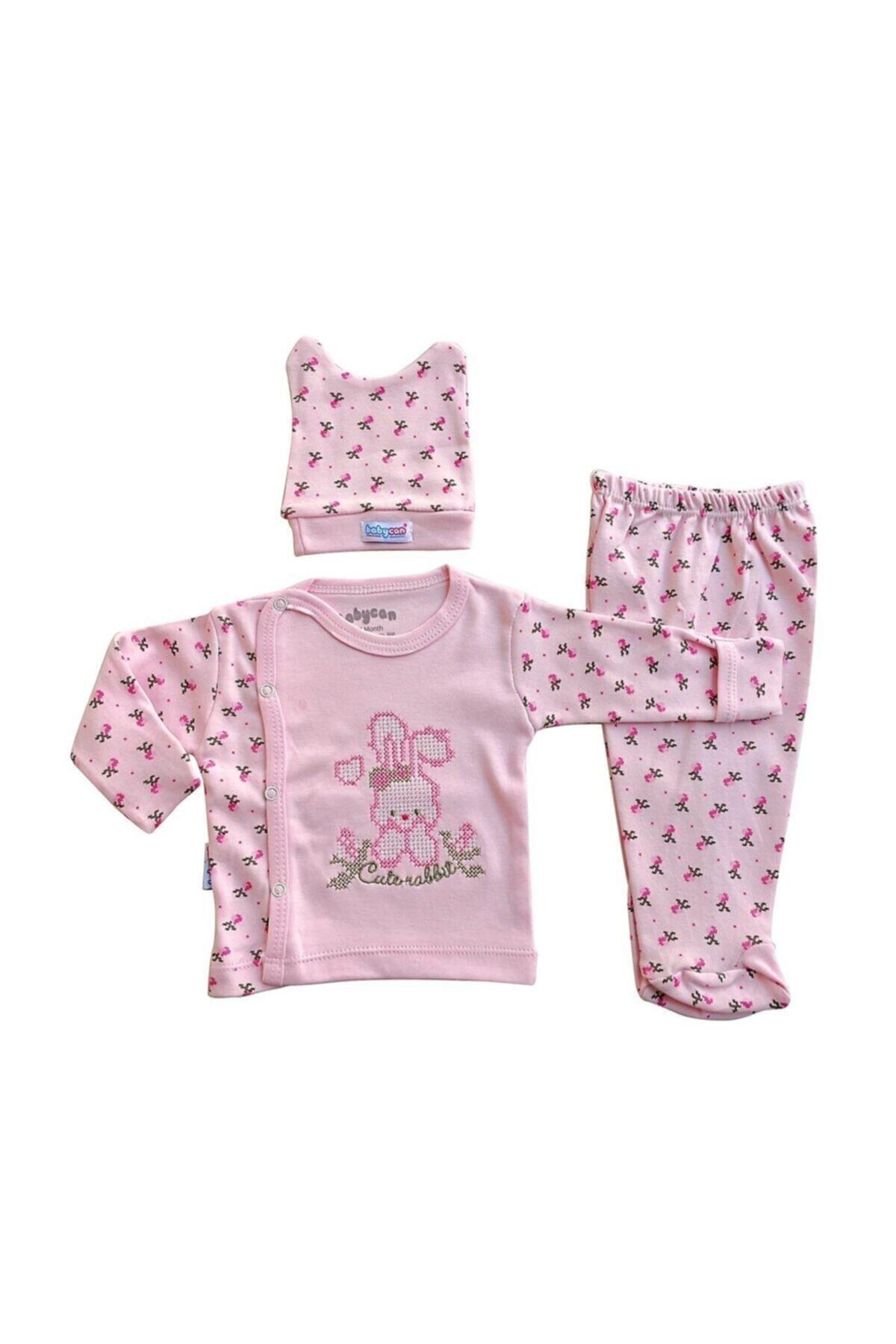 Kız Bebek Pembe 3 Lü Takım Yeni Doğan Zıbın Takımı Kanaviçe Nakışlı