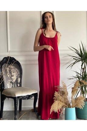 Kırmızı Askılı Elbise kırmızı elbise