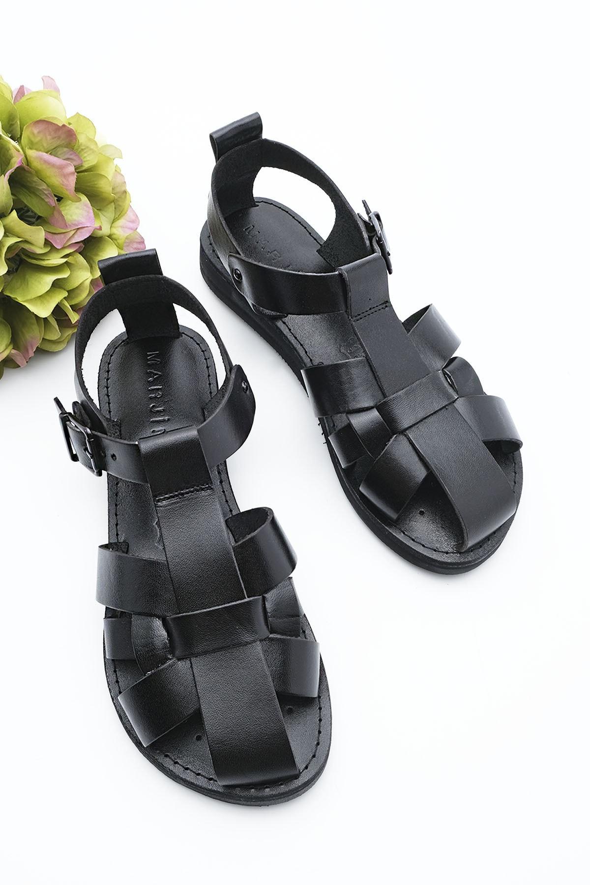 Kadın Hakiki Deri Sandalet Olinsiyah