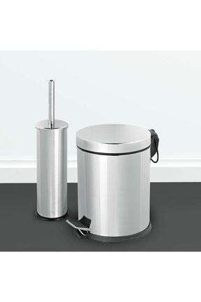 Sas 5 Litre Krom 2'li Banyo Seti Pedallı Çöp Kovası Wc Klozet Tuvalet Fırça Seti Banyo Çöp Kovası 3