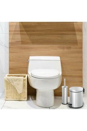 Sas 5 Litre Krom 2'li Banyo Seti Pedallı Çöp Kovası Wc Klozet Tuvalet Fırça Seti Banyo Çöp Kovası 4
