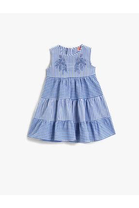 Kız Bebek MAVİ ÇİZGİLİ Nakisli Elbise Çizgili Pamuklu 1YMG83458EW