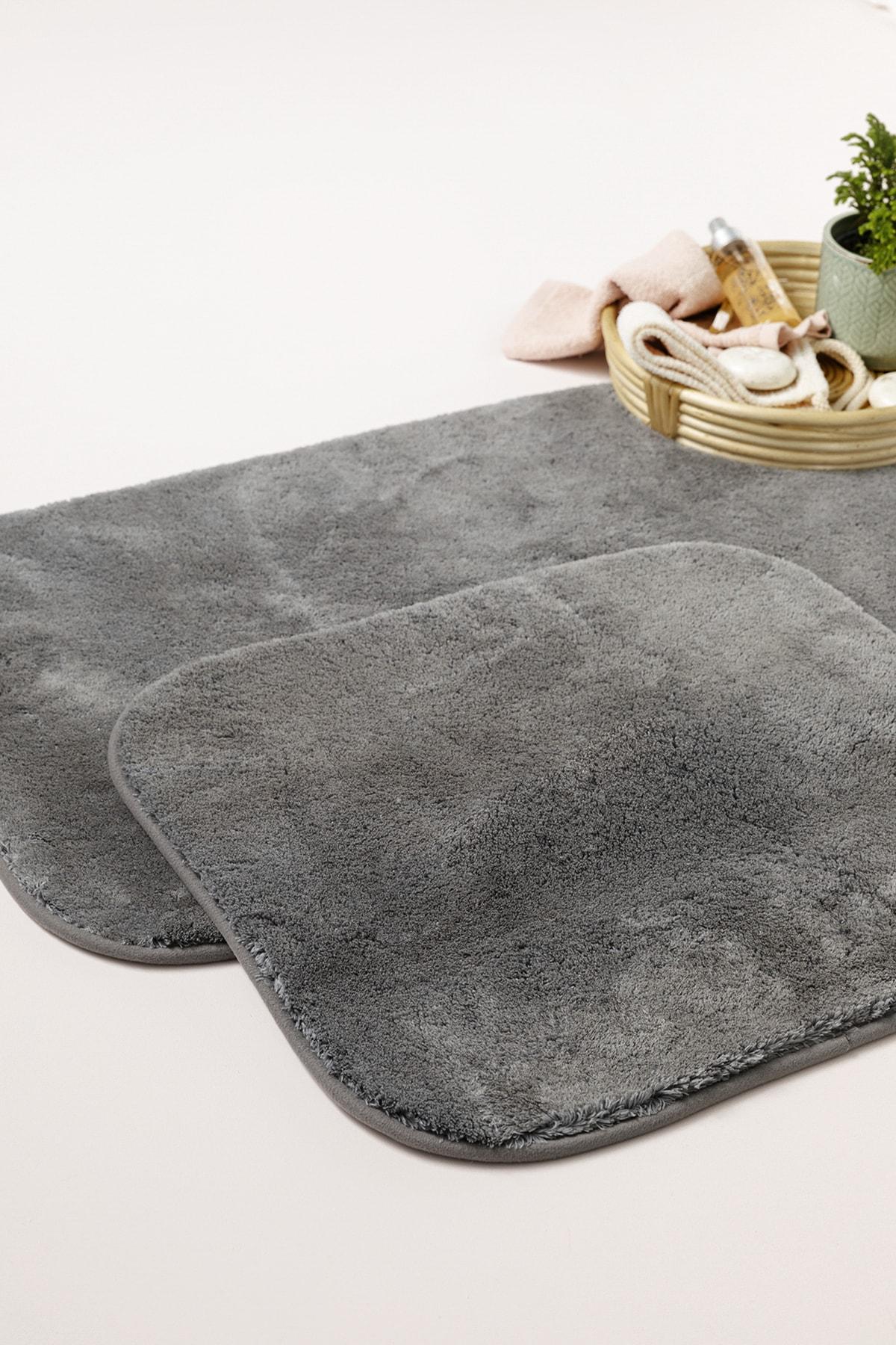 Puffy Polyester 2'li Banyo Paspası Seti 60x90 + 50x60 Cm Antrasit