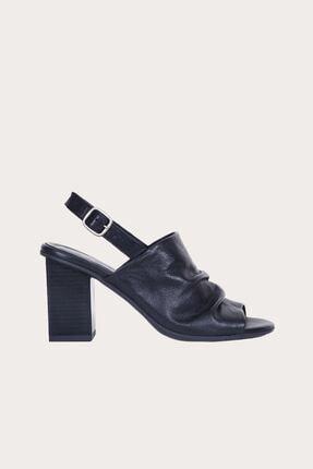 Bueno Siyah Deri Kadın Topuklu Sandalet 01WQ8305