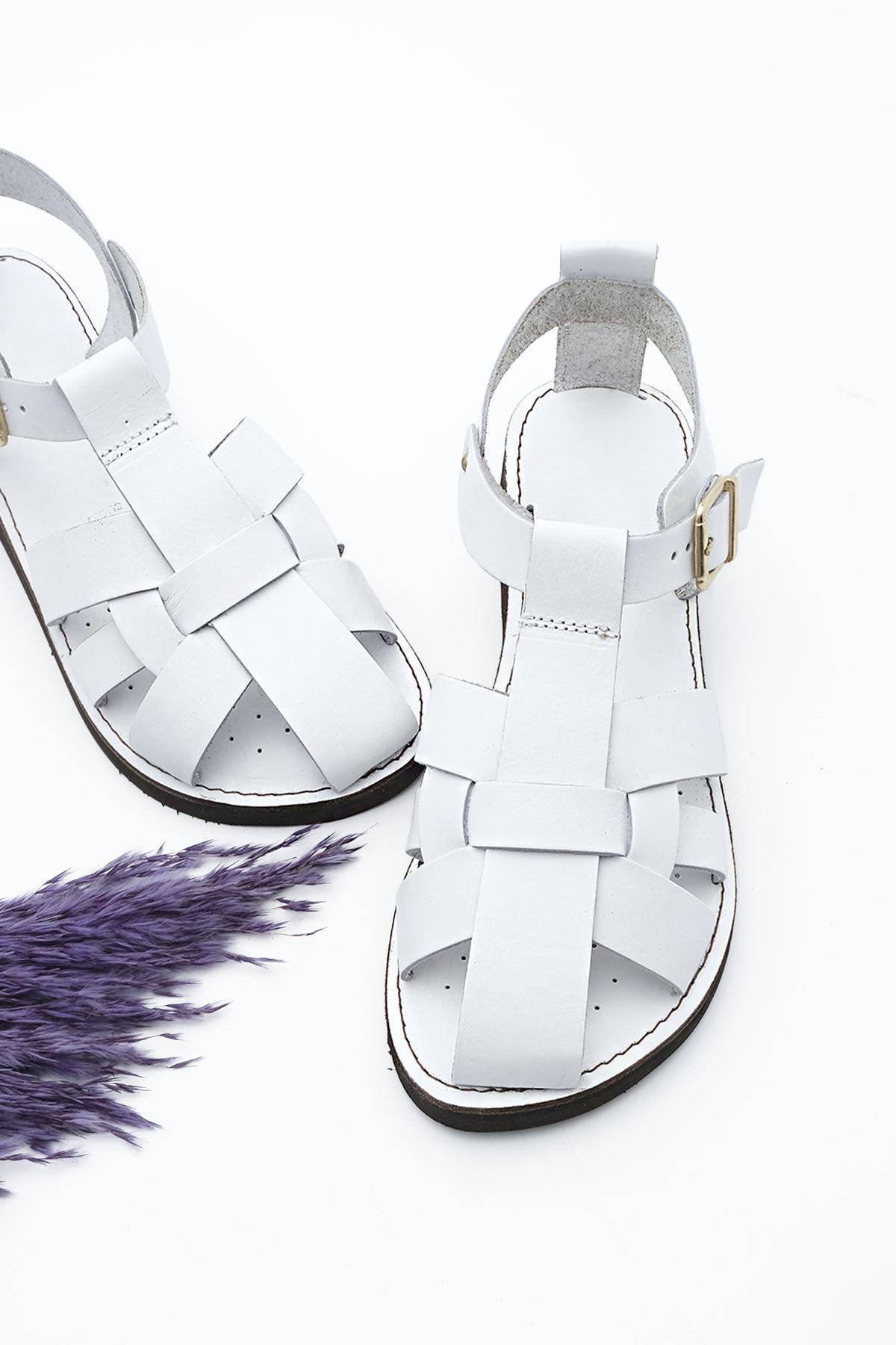 Kadın Hakiki Deri Sandalet Olinbeyaz