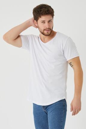 westkombin Erkek Beyaz Pis Yaka Basic  T-Shirt 1