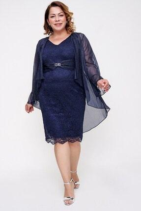 Picture of Beli Tokalı Dantel Elbise Simli Ceket İkili Takım Lacivert