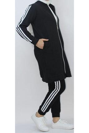 EZRA Bayan Tesettür Eşofman Takımı Kadın Siyah Üç Şeritli Spor Ikili Takım 1