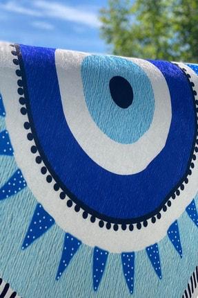 Reyndi Home Yıkanabilir Kaymaz Tabanlı Nazar Boncuğu Desenli Halı Eye Serisi 0