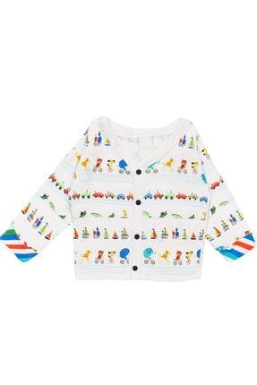 تصویر از Erkek Bebek Renkli Desenli Düğmeli Hırka