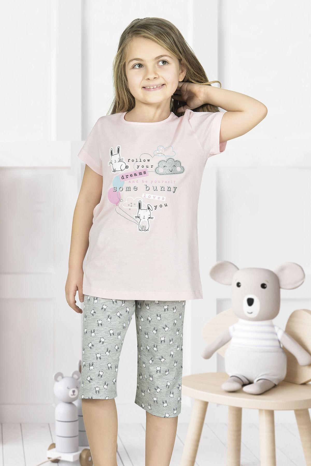 Kız Çocuk Pembe Pamuklu Şortlu Pijama Takımı