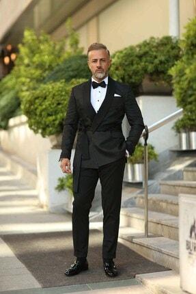تصویر از 5932 Üçgen Şal Yaka Damatlık Kruvaze Takım Elbise