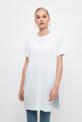 Trendyol Modest Beyaz Basic Tunik T-shirt TCTSS21TN0056 0