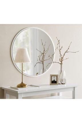 Aktın Cam Dekoratif Yuvarlak Ayna Beyaz 0