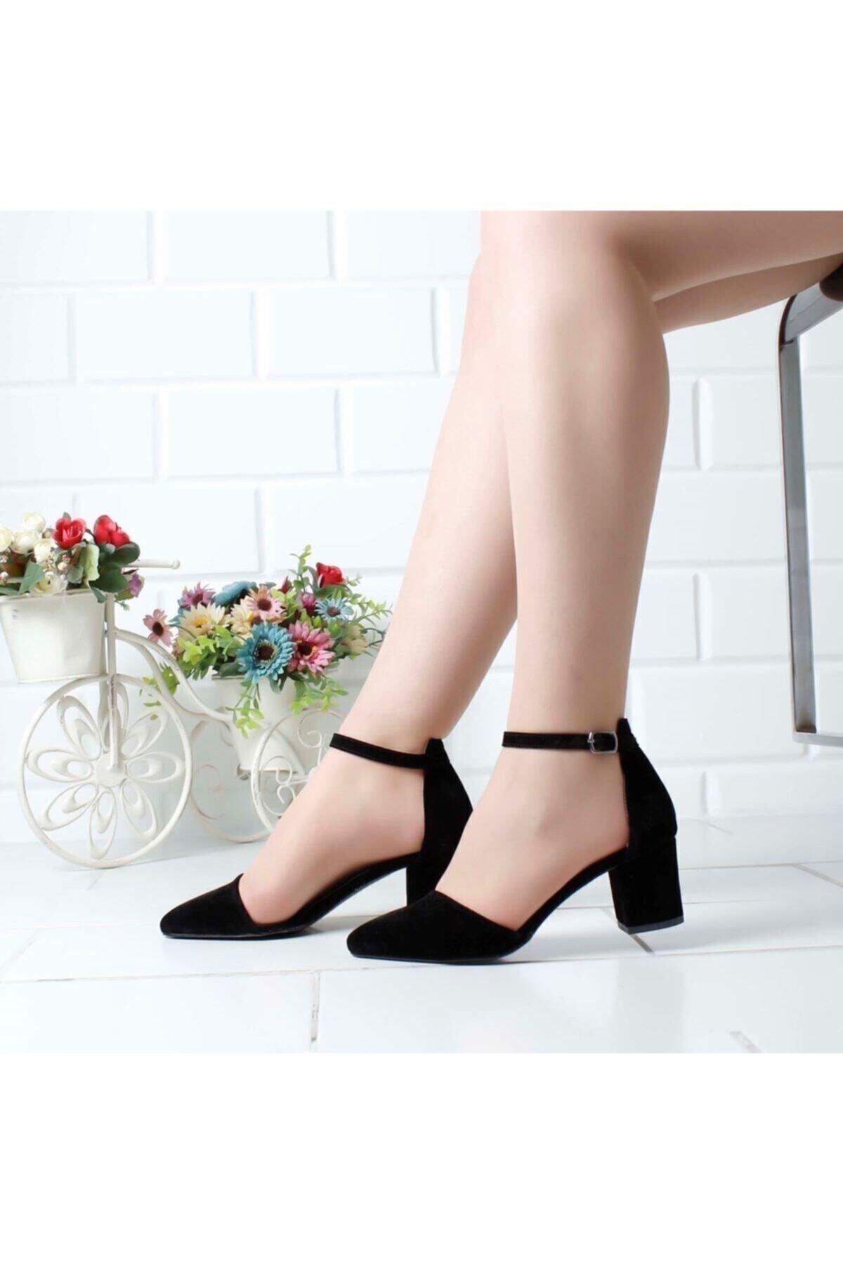 Kadın Siyah Süet Tek Bant Kalın Topuklu Klasik Ayakkabı