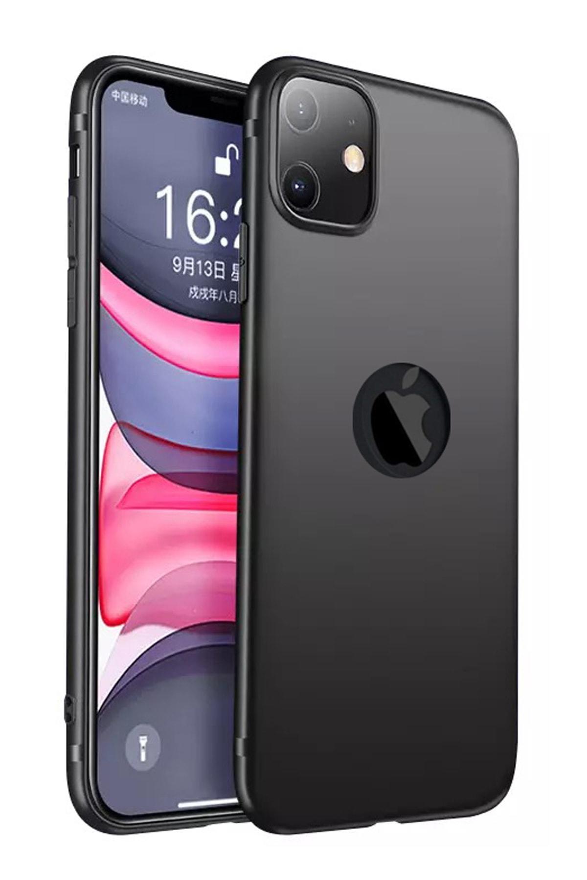 Apple Iphone 11 Kılıf Ultra Ince Tıpalı Soket Korumalı Kamera Korumalı Mat Siyah Slim Silikon
