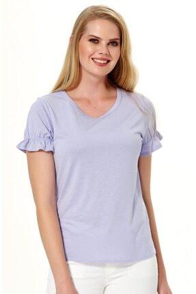 İkiler Kadın Koyu Lila Kısa Kol Kolu Lastikli Bluz 018-1205 3