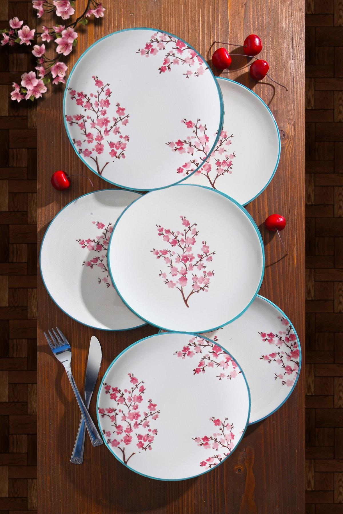 6'lı Özel Tasarım Handmade 21 cm Pasta Tabak Seti