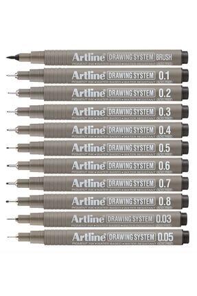 artline Drawing System Teknik Çizim Kalemi 11'li Tam Set 0