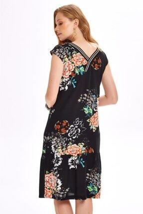 İkiler Yakası Simli Bantlı Eteği Volanlı Desenli Elbise 020-4029 4