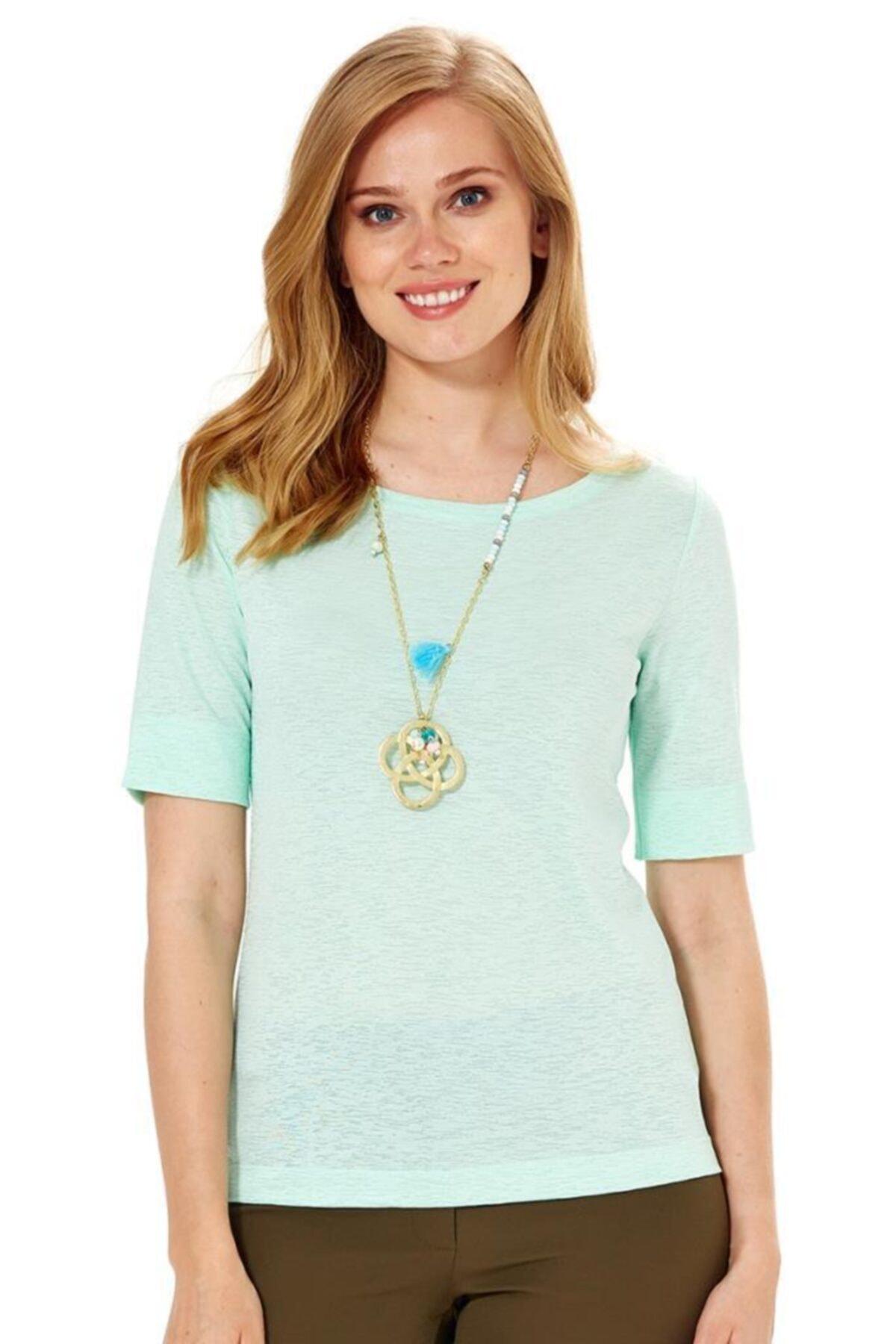 Kadın Mint Yeşili Kısa Kol Kol Ucu Yırtmaçlı Bluz 018-1609