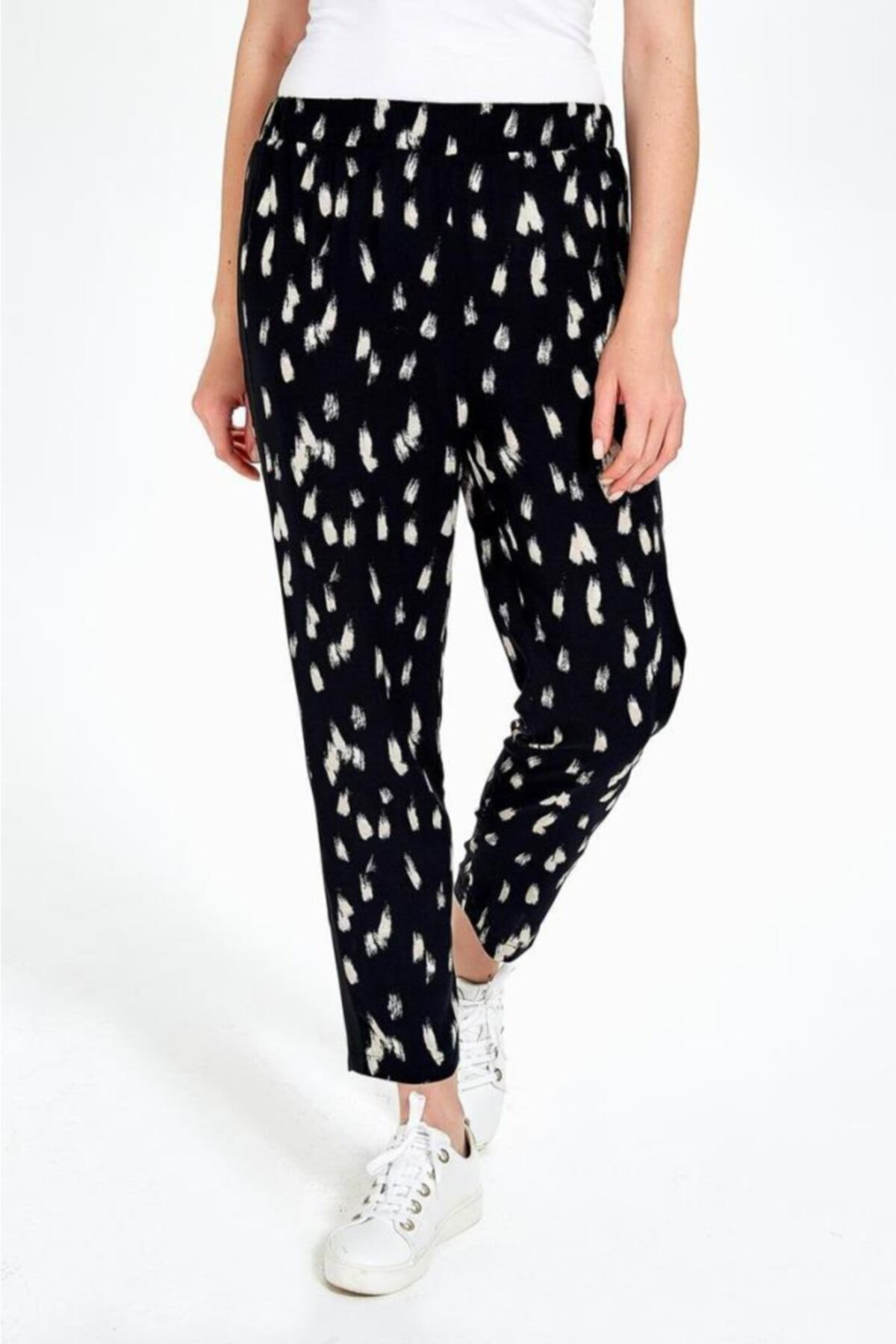 İkiler Kadın Siyah Yanları Triko Bantlı Desenli Pantolon 190-3504-01