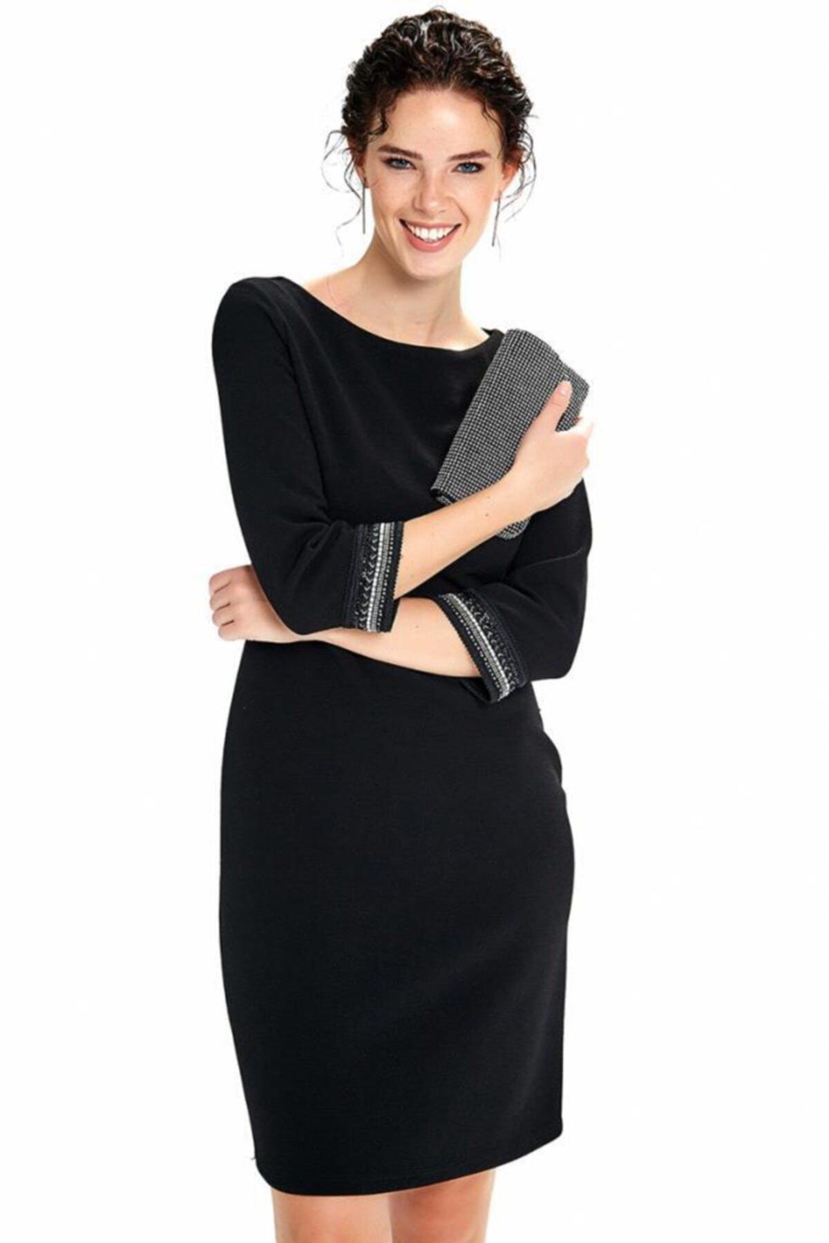 Kadın Siyah Beli Kesikli Kolu Boncuk Şeritli Elbise 190-4030